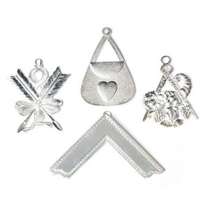 masonic craft officers collar four jewels in silver detailing