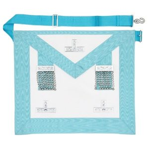 masonic craft worshipful master apron in light blue with silver polished levels