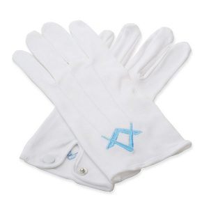 masonic deluxe craft master masons value gloves in white color with light blue embroidered details