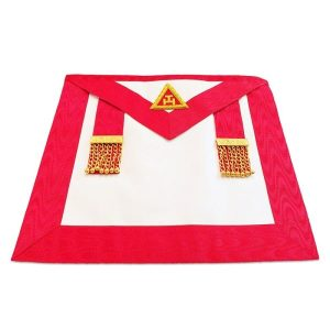 masonic irish Royal arch chapter members apron with golden chain and ball