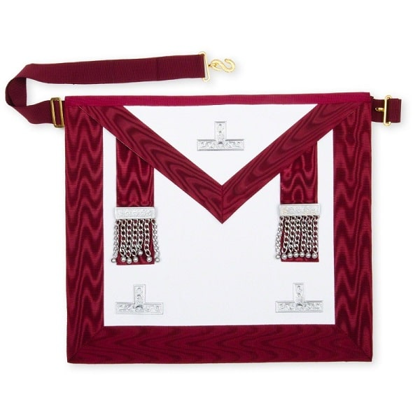 masonic stewards apron with silver levels