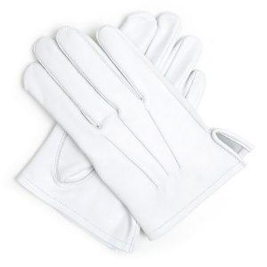 masonic white 100% pure leather gloves