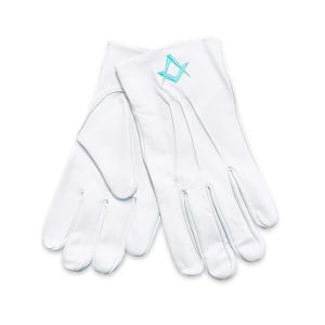 Masonic white pure soft leather gloves square compass