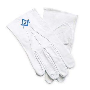 Masonic white soft leather gloves square compass